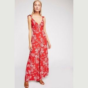 Free People Be the One Ruffle Strap Jumpsuit NWOT